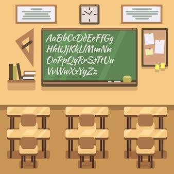 Schule, universität, institut, hochschulklassenzimmer mit tafel und schreibtisch. eben