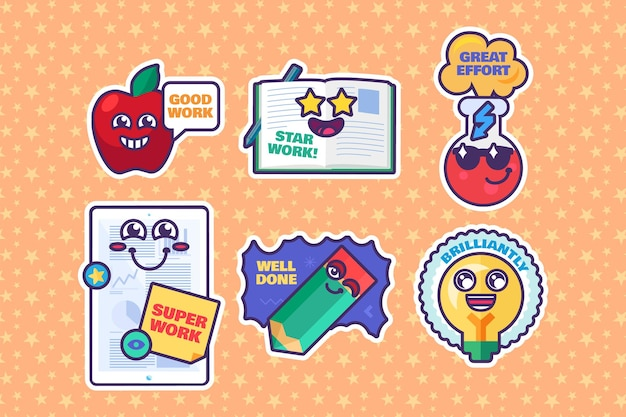 Schule vergibt zeichentrickfilm-aufkleber-belohnungszeichen. nette zeichen für lehrer. sammlung lustiger etiketten mit lächelnden gesichtern für die grundschule. vektor-illustration