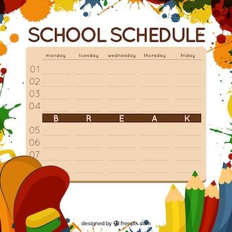 Schule zeitplan mit farbflecken