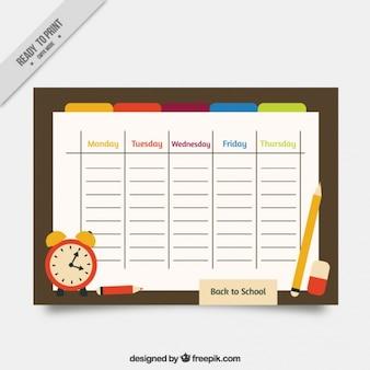Schule zeitplan mit materialien