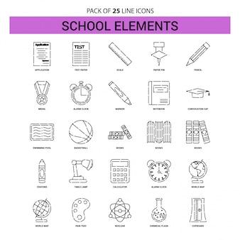 Schulelement-linie ikonen-set - 25 gestrichelte entwurfs-art