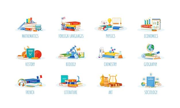 Schulfächer flaches konzept gesetzt. natur- und formwissenschaftliche metaphern. fremdsprachen-, physik- und wirtschaftsunterricht. schüler lehrbücher und liefert artikel 2d-cartoon-objekte