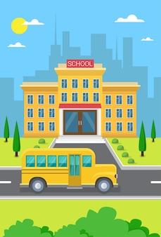 Schulgebäude-außenansicht gelbe bus-stadt-ansicht