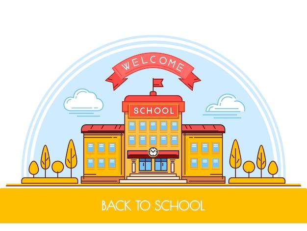Schulgebäude im flachen stil.