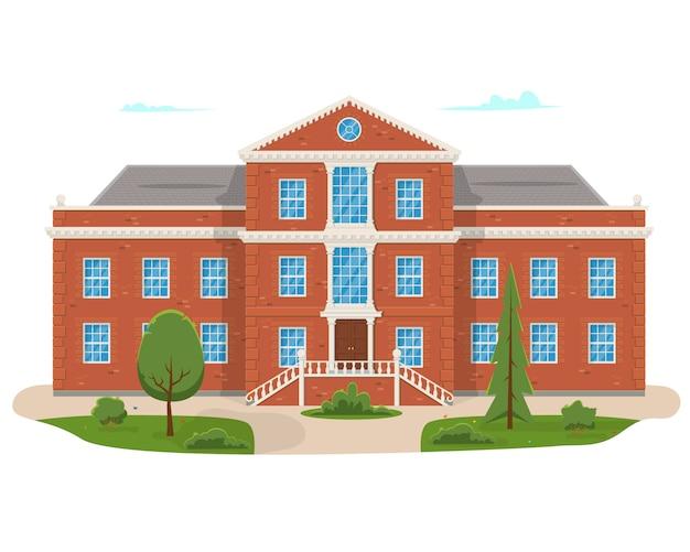 Schulgebäude mit der straße