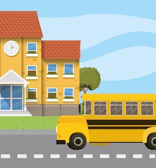 Schulgebäude und bus in der straßenszene