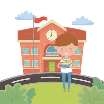 Schulgebäude und jungenkarikatur