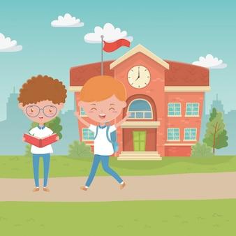 Schulgebäude und jungs