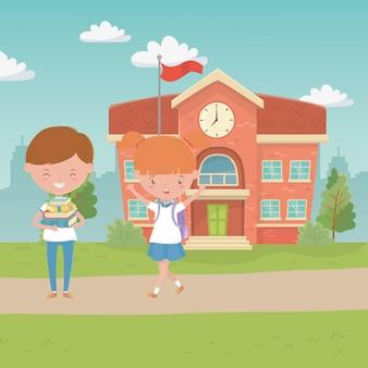 Schulgebäude und kinder