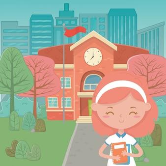 Schulgebäude und mädchenkarikatur