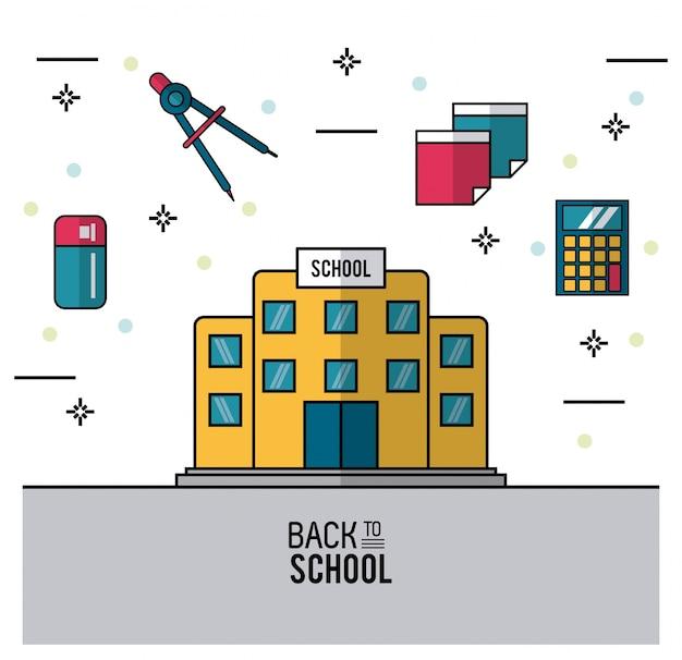 Schulgebäude und radiergummi kompassplaketten und taschenrechner
