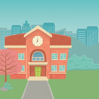 Schulgebäudedesign-vektorillustration