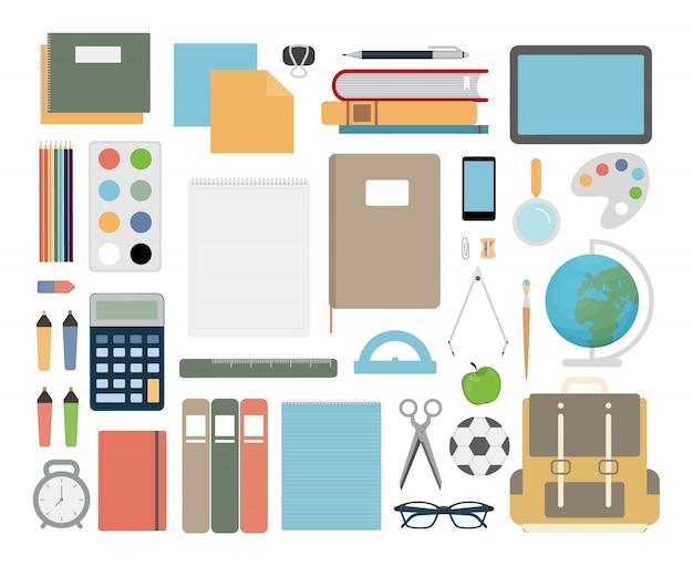 Schulgegenstände eingestellt. notizbuch und bücher, kugelschreiber und bleistift.