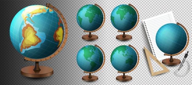Schulglobus vektor realistische 3d-globus des planeten erde mit karte der weltsymbol-nahaufnahme isoliert auf weißem hintergrund