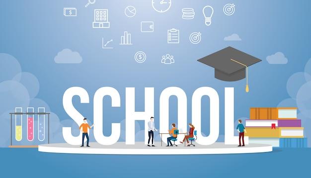 Schulgroßes wort mit bildung und buchstapel mit dem studentenlernen