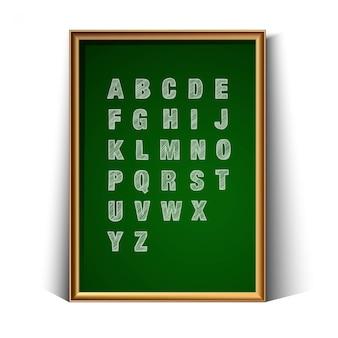 Schulgrünkohlebrett zum schreiben mit handgezeichnetem alphabet. auf weißem hintergrund isoliert.