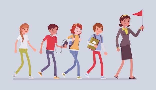 Schulgruppenausflug. schüler und ein lehrer, die eine kurze reise oder einen ausflug ins freie unternehmen, in einer schlange für einen tagesausflug gehen, genießen sommeraktivitäten. stil cartoon illustration