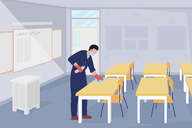 Schulhausmeister in der flachen farbvektorillustration des klassenzimmers. treffen sie vorkehrungen gegen viren. männlicher hausmeister, der oberflächen in der ausstattung 2d-zeichentrickfilm-figur mit klassenzimmerinnenraum auf hintergrund säubert