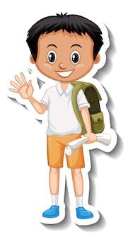 Schuljunge-cartoon-charakter-aufkleber