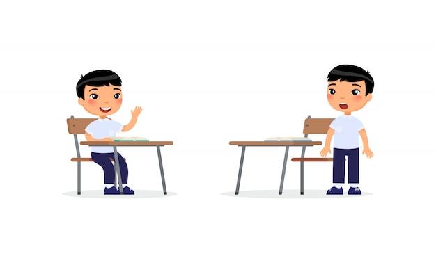 Schuljunge, der hand im klassenzimmer für antwort, zeichentrickfilm-figuren anhebt. grundschule bildungsprozess.