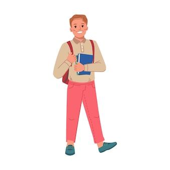 Schuljunge mit rucksack auf schultern und büchern