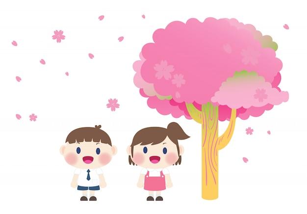 Schuljunge und -mädchen unter kirschblüte-baum