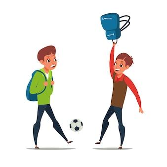 Schuljungen, die fußball spielen