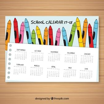 Schulkalender mit handgezeichneten buntstiften
