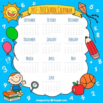 Schulkalender mit handgezeichneten elementen