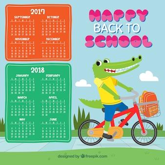 Schulkalender mit krokodil-fahrrad