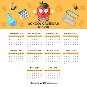 Schulkalender mit lustigem apfel und material