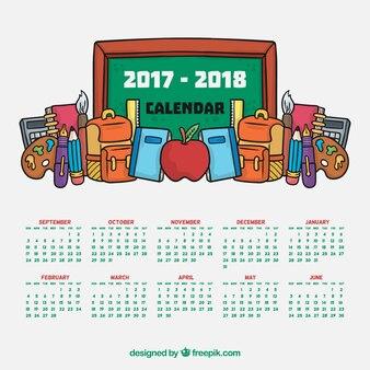 Schulkalender mit tafel und handgezeichneten materialien