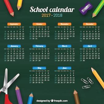 Schulkalender von tafel und buntstiften