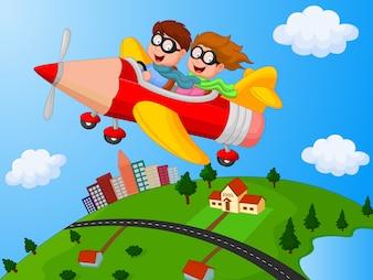 Schulkinder, die Flugzeugbleistift genießen
