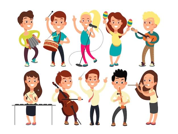 Schulkinder, die musik auf der bühne spielen. kindermusiker, die musikshow durchführen