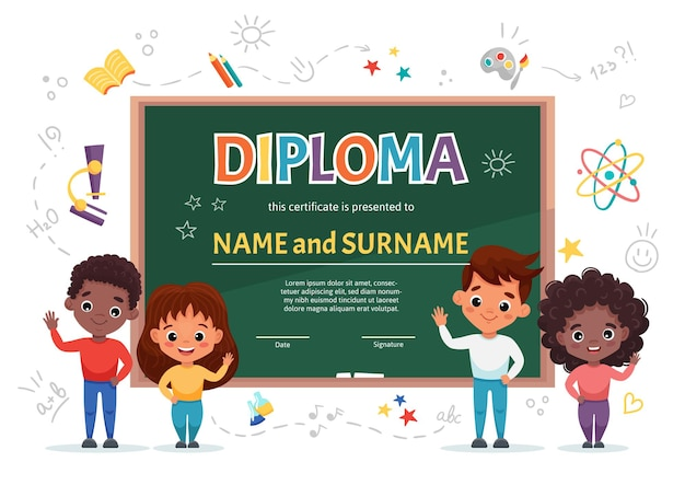 Schulkinder-diplom-zertifikatschablone mit niedlichen glücklichen kindern verschiedener nationalitäten auf weißem hintergrund mit grüner tafel und gekritzelschulelementen. cartoon flache illustration