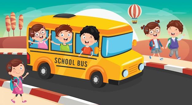 Schulkinder gehen mit dem bus zur schule