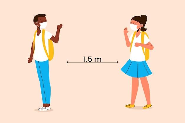 Schulkinder grüßen in der neuen normalität