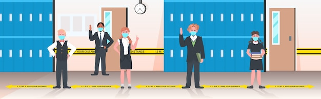 Schulkinder in masken halten abstand, um das konzept der sozialen distanzierung der coronavirus-pandemie zu verhindern