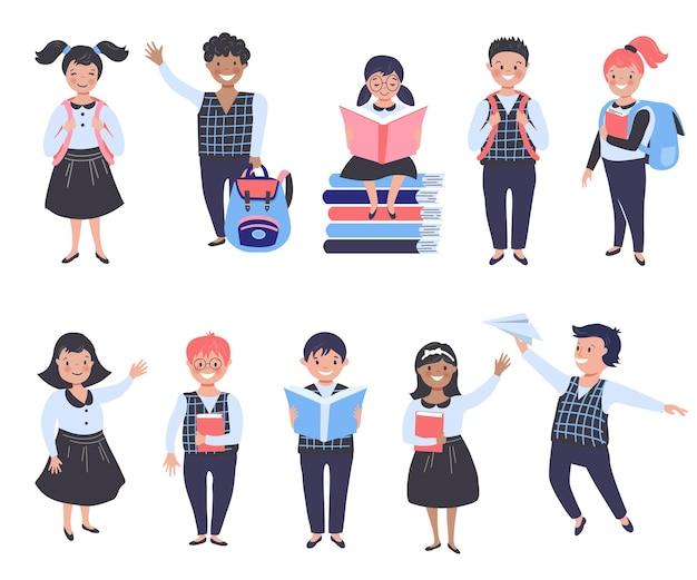 Schulkinder mit büchern und schulrucksäcken. vektor-illustration.
