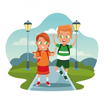 Schulkinder mit rucksack cartoons