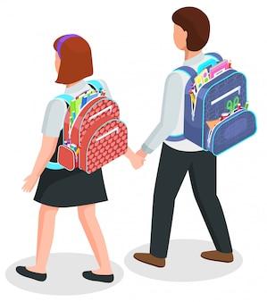 Schulkinder mit rucksäcken, jungen und mädchen in uniform