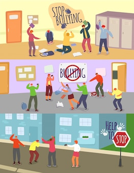 Schulkinder mobbing illustrationen, cartoon wütenden jungen mädchen teenager verspottet unglücklichen schulkameraden, stoppen mobbing problem gesetzt