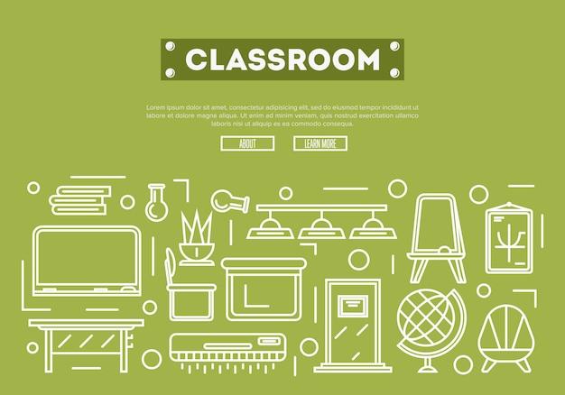 Schulklassenzimmer im linearen stil