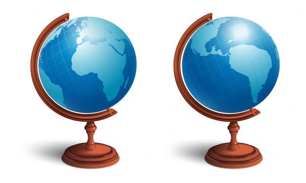 Schulkugel gesetzt. blick von zwei seiten. planet erde mit kontinenten.