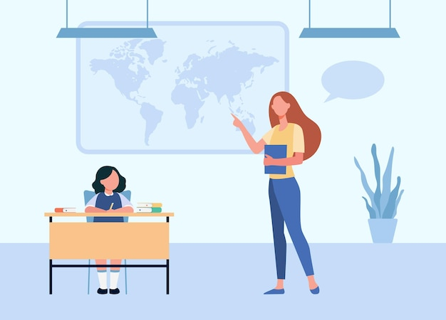 Schullehrer erklärt dem schüler den geographieunterricht. tutor zeigt weltkarte zum studentenkind