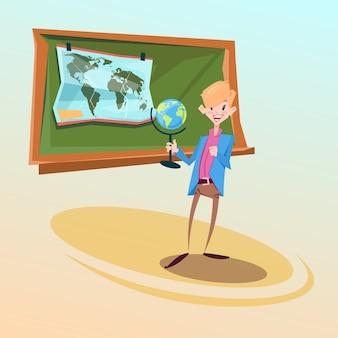 Schullehrer-griff-kugel-geografie-lektions-bildungs-konzept