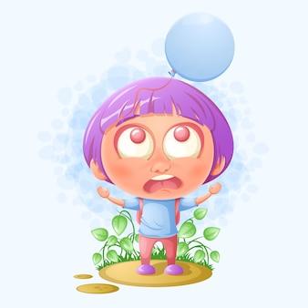 Schulmädchen hat einen ballon verloren. cartoon-abbildung.