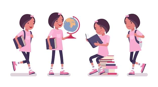 Schulmädchen in freizeitkleidung, die mit globus und büchern steht. süße kleine dame im rosa t-shirt, aktives junges kind, intelligente grundschülerin im alter zwischen 7 und 9 jahren. vektor-flache cartoon-illustration