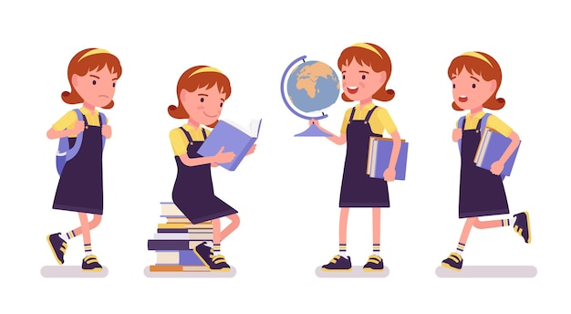 Schulmädchen mit büchern und globus